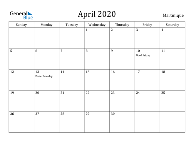 Image of April 2020 Martinique Calendar with Holidays Calendar