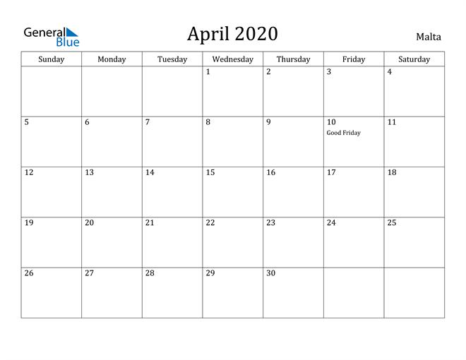 Image of April 2020 Malta Calendar with Holidays Calendar
