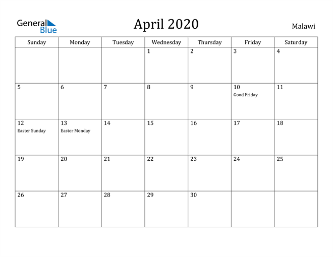 Image of April 2020 Malawi Calendar with Holidays Calendar
