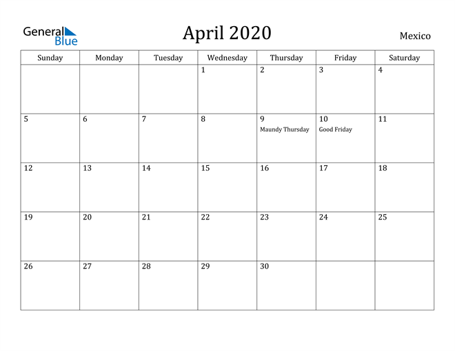 Image of April 2020 Mexico Calendar with Holidays Calendar