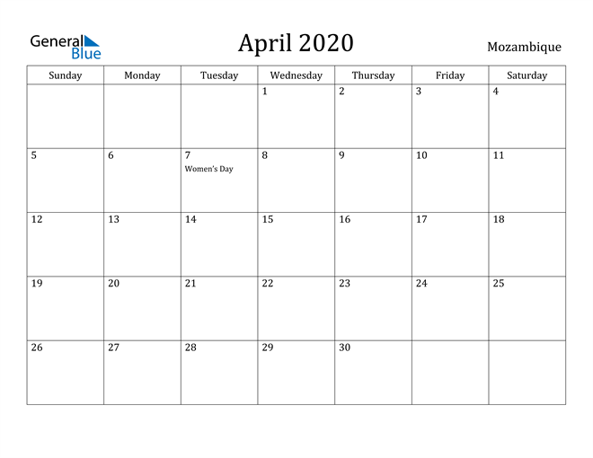 Image of April 2020 Mozambique Calendar with Holidays Calendar