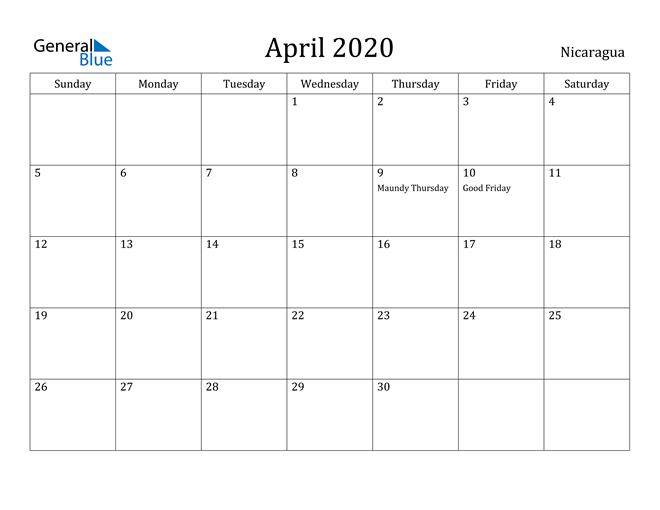 Image of April 2020 Nicaragua Calendar with Holidays Calendar