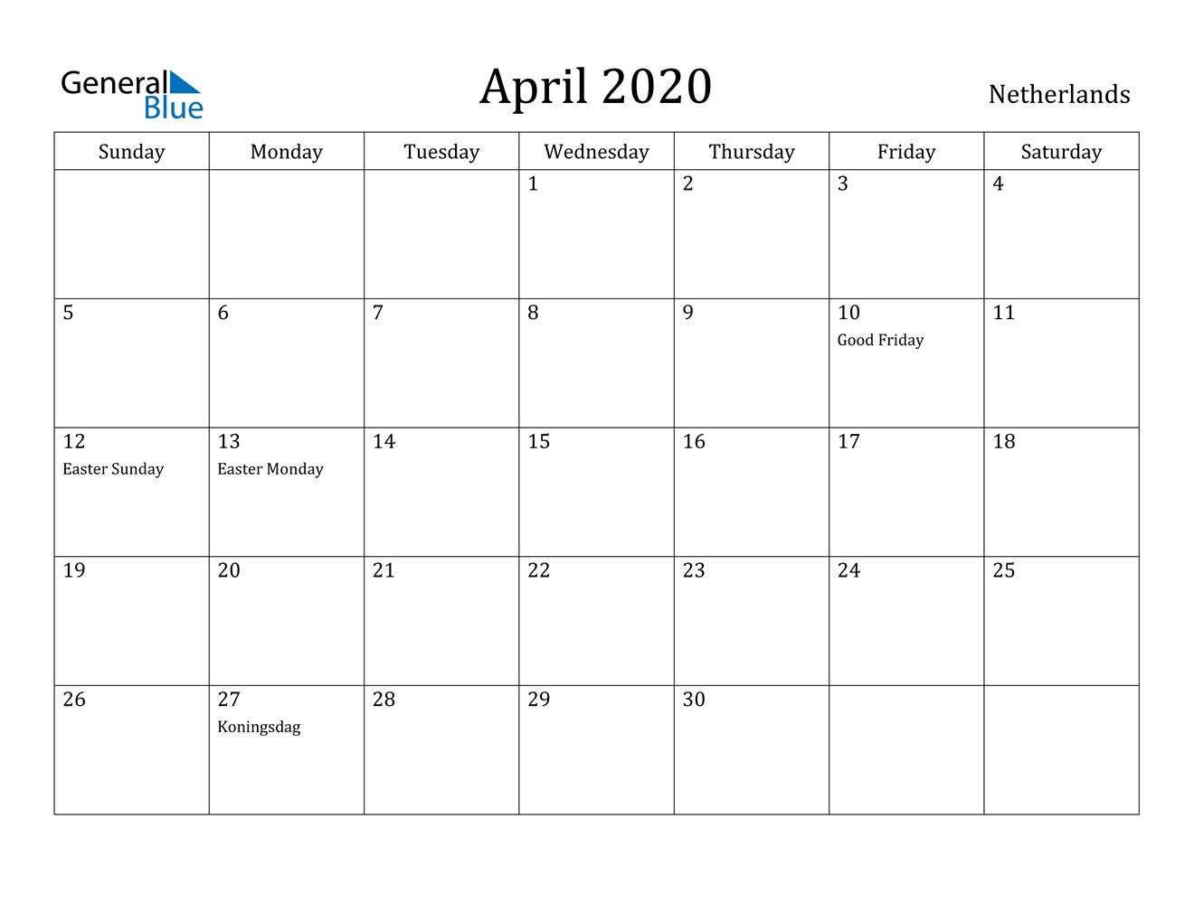 Image of April 2020 Netherlands Calendar with Holidays Calendar