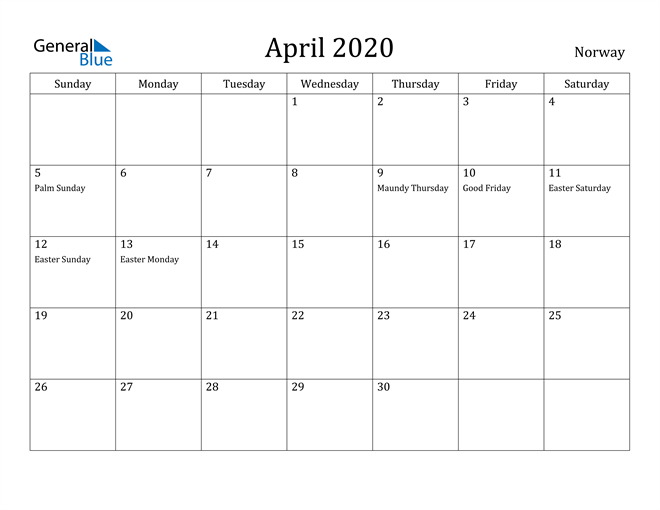 Image of April 2020 Norway Calendar with Holidays Calendar
