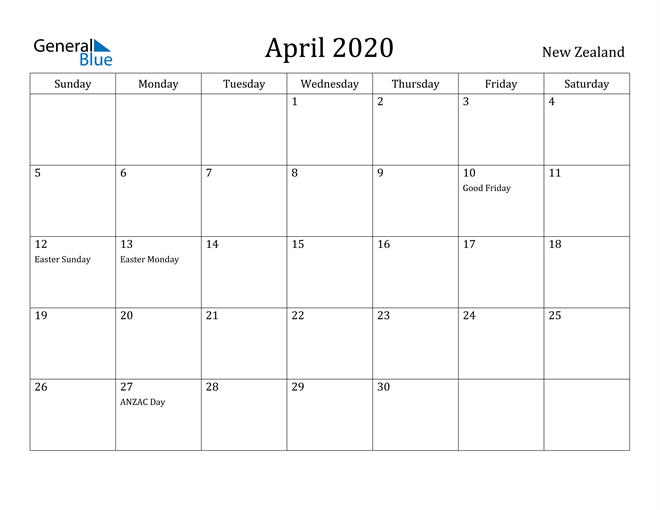 Image of April 2020 New Zealand Calendar with Holidays Calendar