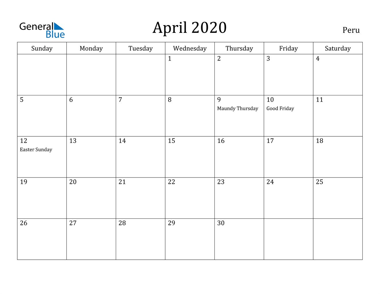 Image of April 2020 Peru Calendar with Holidays Calendar