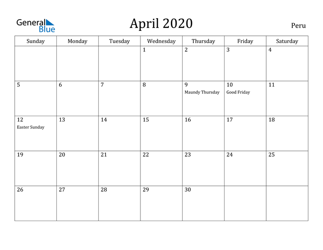 Image of April 2020 Peru Calendar with Holidays Calendar