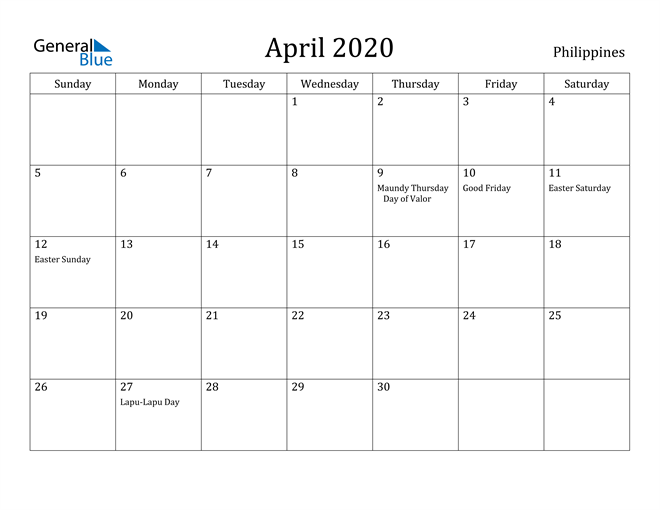 Image of April 2020 Philippines Calendar with Holidays Calendar