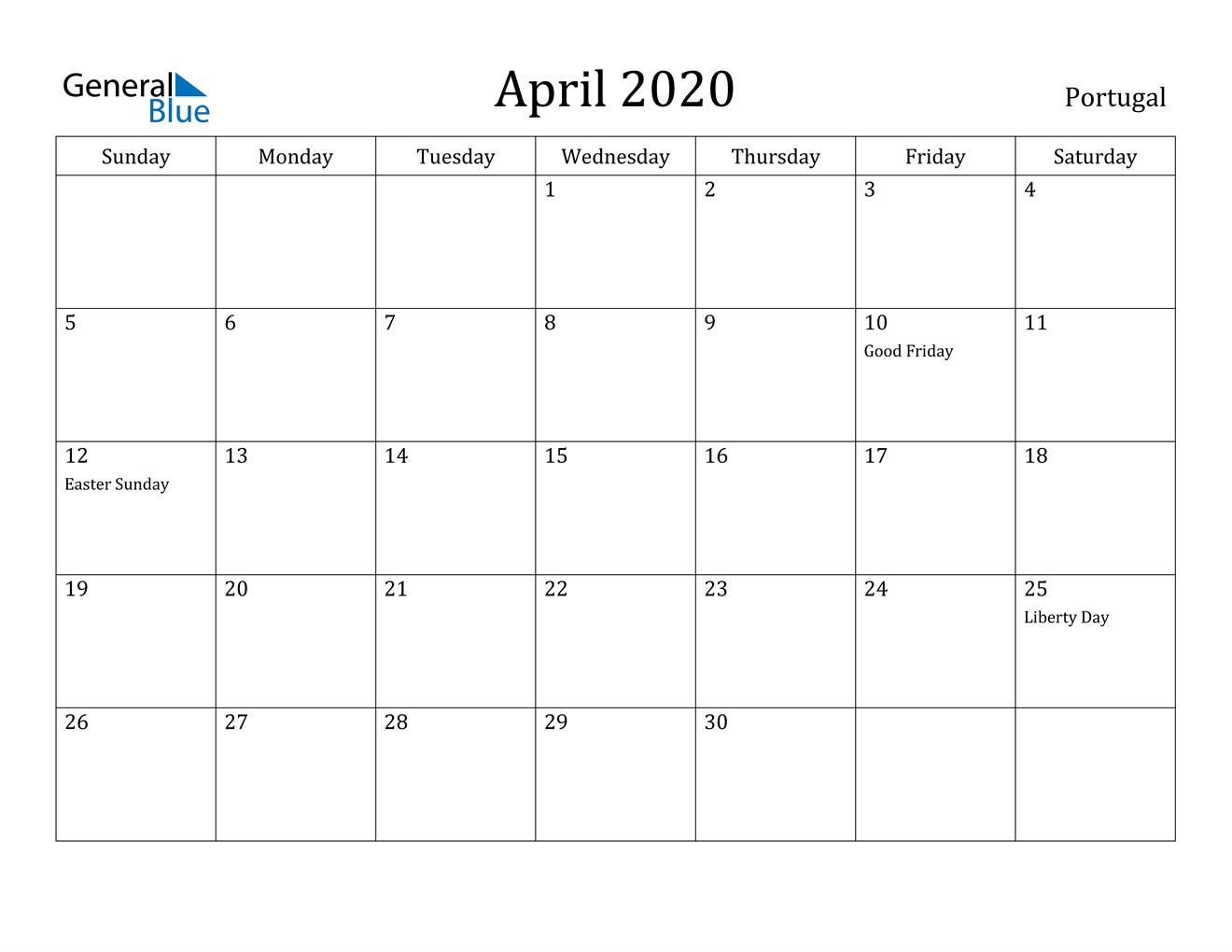 Image of April 2020 Portugal Calendar with Holidays Calendar