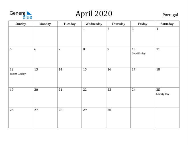 Image of April 2020 Portugal Calendar with Holidays Calendar