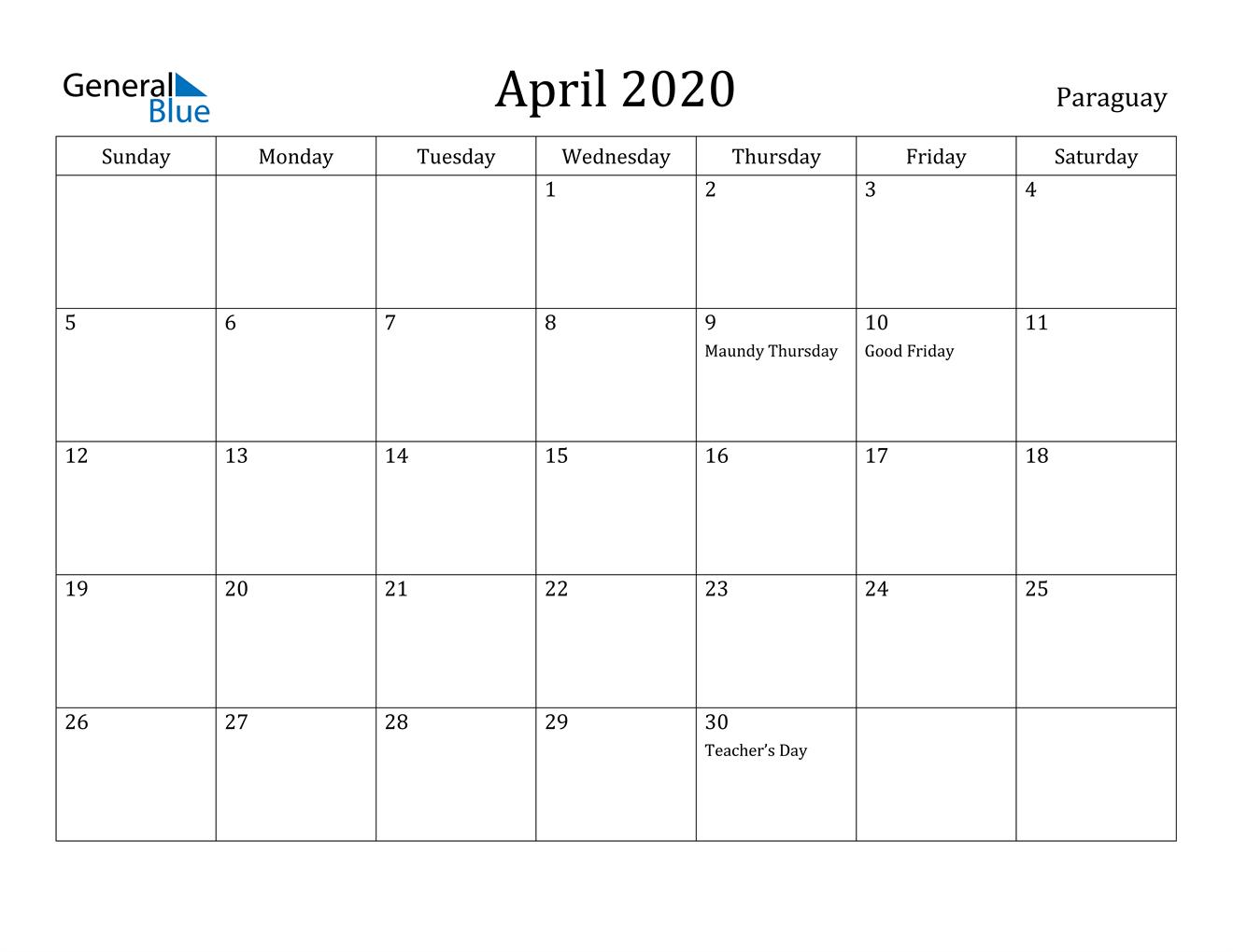 Image of April 2020 Paraguay Calendar with Holidays Calendar