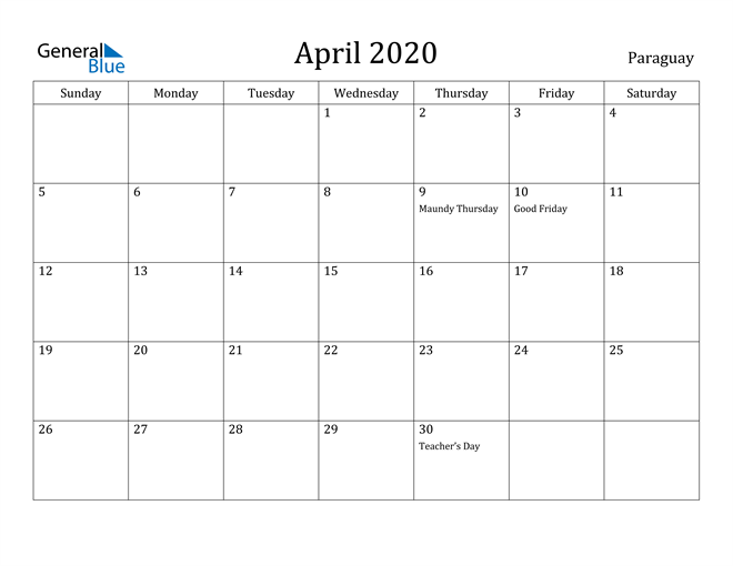 Image of April 2020 Paraguay Calendar with Holidays Calendar