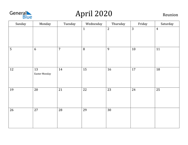 Image of April 2020 Reunion Calendar with Holidays Calendar
