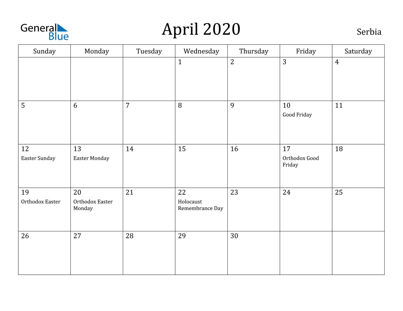 Image of April 2020 Serbia Calendar with Holidays Calendar