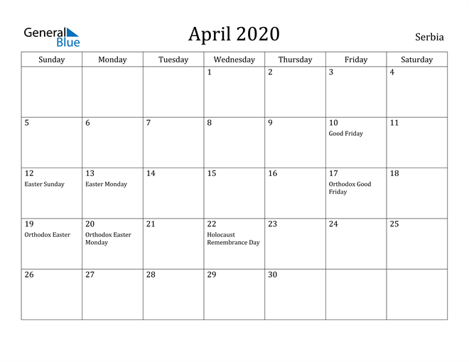Image of April 2020 Serbia Calendar with Holidays Calendar