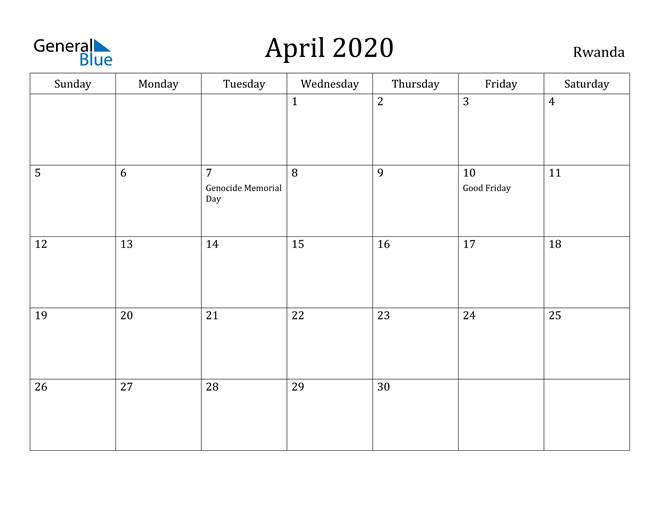 Image of April 2020 Rwanda Calendar with Holidays Calendar