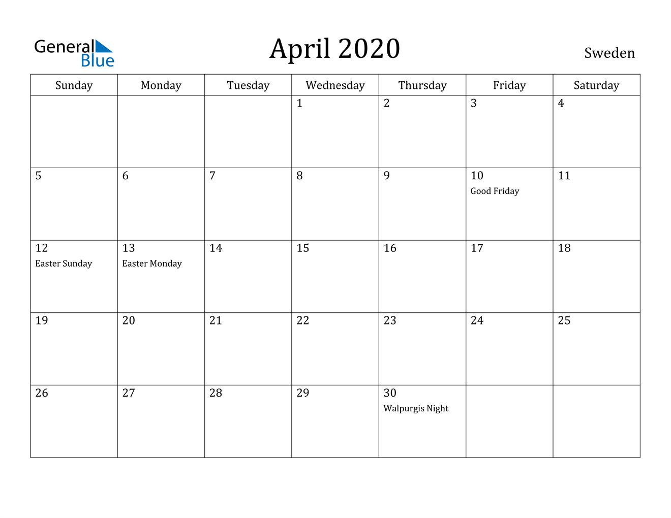 Image of April 2020 Sweden Calendar with Holidays Calendar