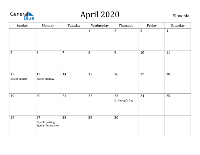 Image of April 2020 Slovenia Calendar with Holidays Calendar