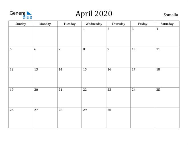 Image of April 2020 Somalia Calendar with Holidays Calendar