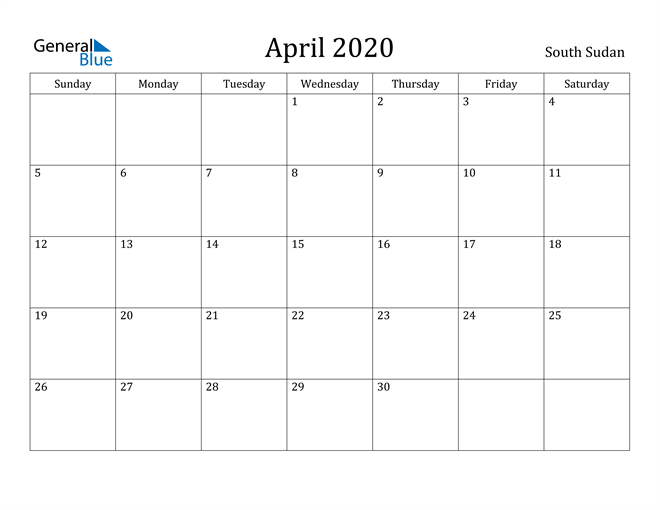 Image of April 2020 South Sudan Calendar with Holidays Calendar