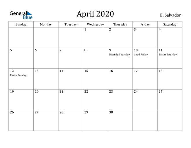 Image of April 2020 El Salvador Calendar with Holidays Calendar