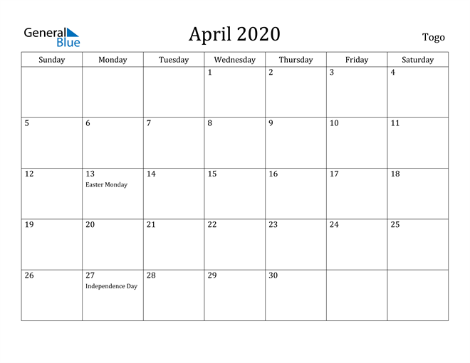 Image of April 2020 Togo Calendar with Holidays Calendar