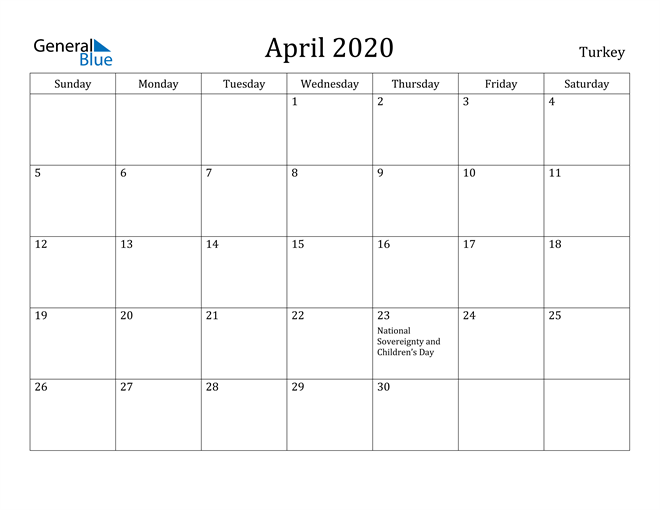 April 2020 Turkey Calendar with Holidays Calendar