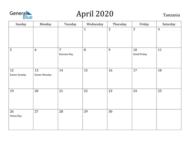 Image of April 2020 Tanzania Calendar with Holidays Calendar