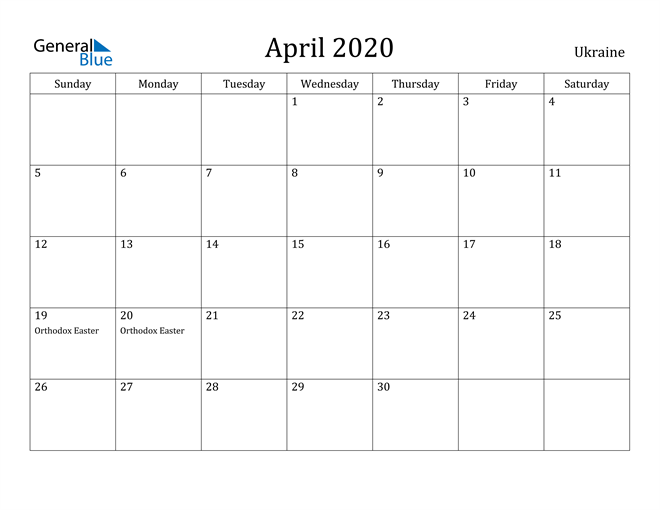 Image of April 2020 Ukraine Calendar with Holidays Calendar