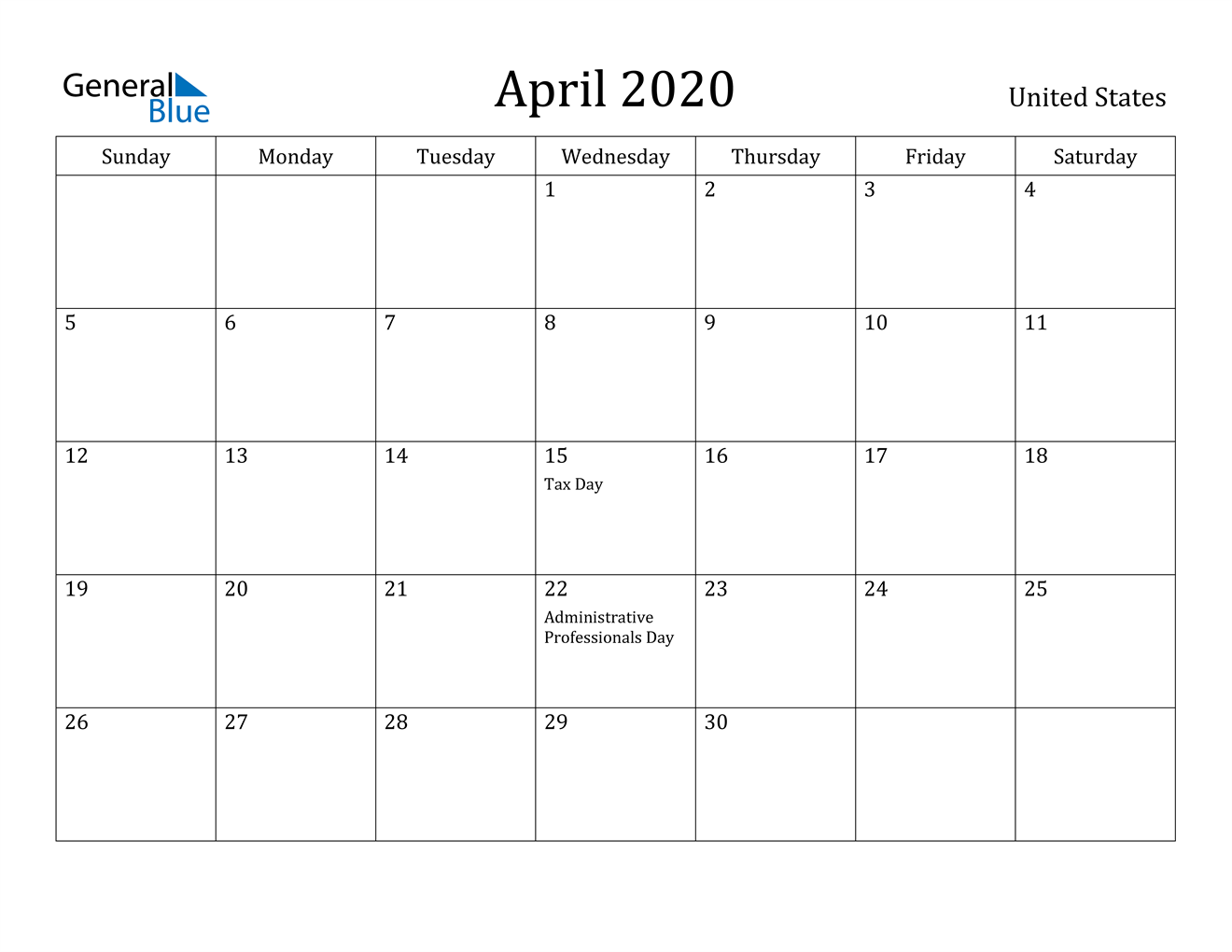Image of April 2020 United States Calendar with Holidays Calendar