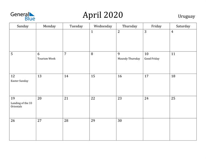 Image of April 2020 Uruguay Calendar with Holidays Calendar