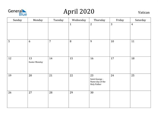 Image of April 2020 Vatican Calendar with Holidays Calendar