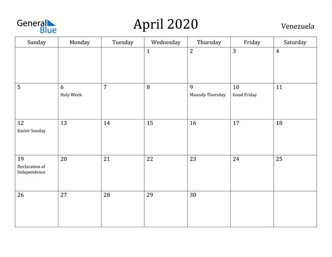Image of April 2020 Venezuela Calendar with Holidays Calendar
