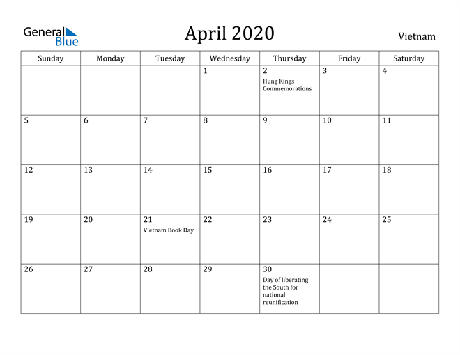Image of April 2020 Vietnam Calendar with Holidays Calendar