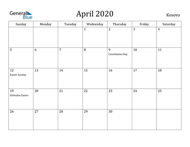 Image of April 2020 Kosovo Calendar with Holidays Calendar