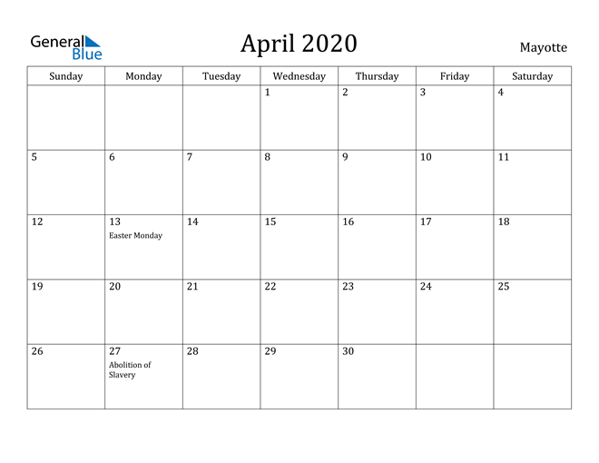 Image of April 2020 Mayotte Calendar with Holidays Calendar