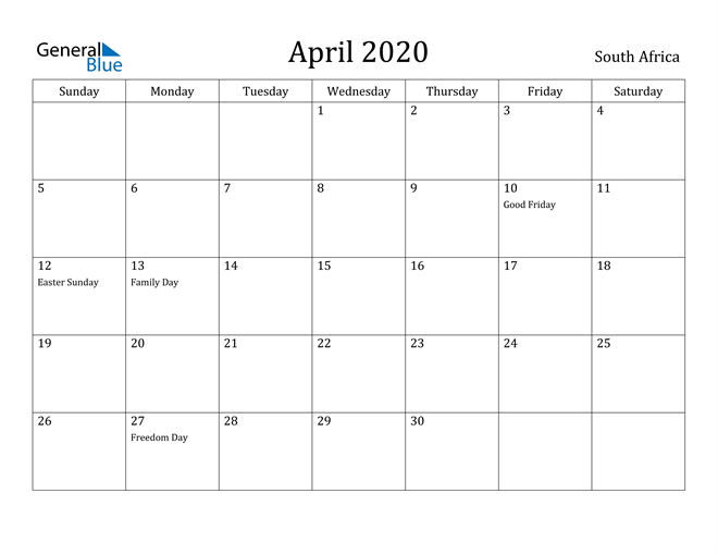 Image of April 2020 South Africa Calendar with Holidays Calendar