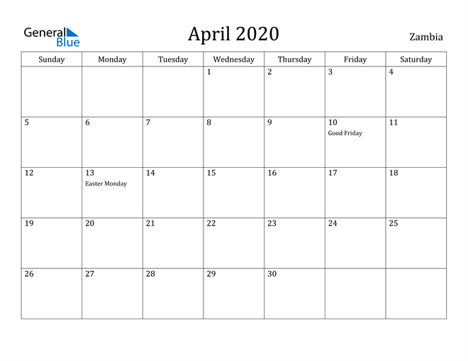 Image of April 2020 Zambia Calendar with Holidays Calendar