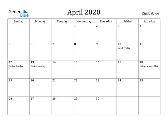Image of April 2020 Zimbabwe Calendar with Holidays Calendar