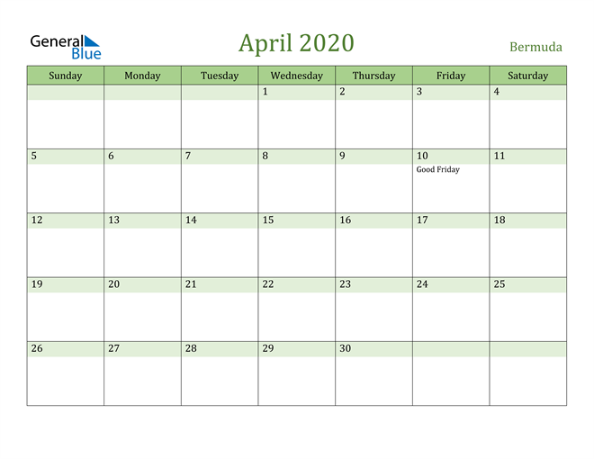 Image of April 2020 Cool and Relaxing Green Calendar Calendar