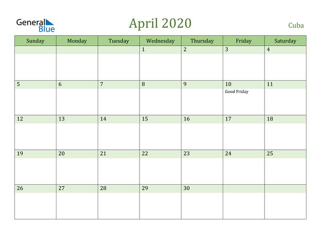 April 2020 Cool and Relaxing Green Calendar Calendar