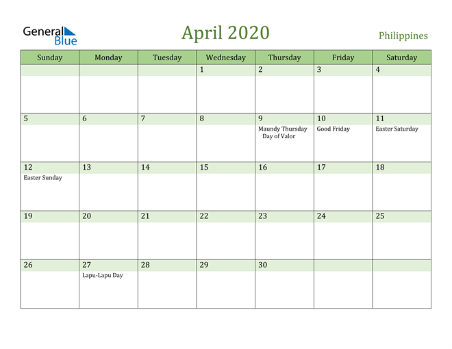 April 2020 Calendar with Philippines Holidays
