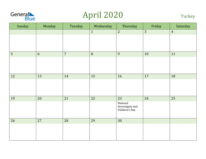 April 2020 Cool and Relaxing Green Calendar Calendar