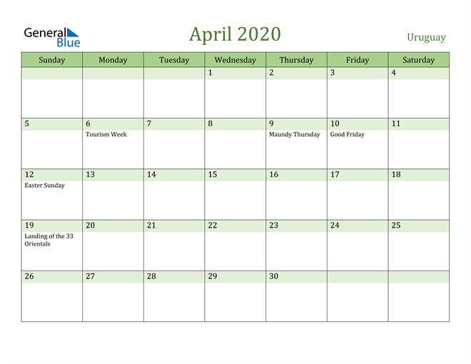 Image of April 2020 Cool and Relaxing Green Calendar Calendar