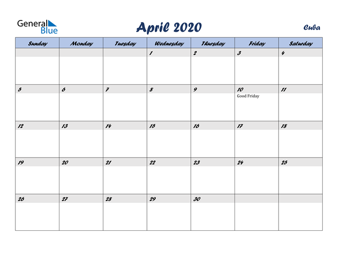 April 2020 Italicized and Cool Blue, A Fun Calendar in PDF, Word and Excel Calendar