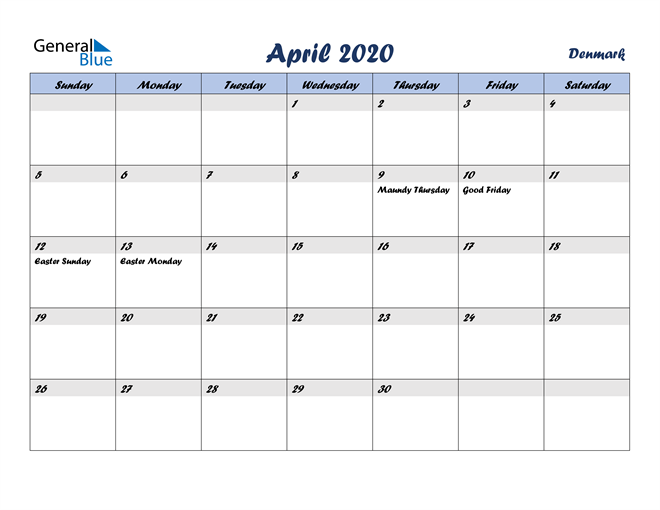 Image of April 2020 Italicized and Cool Blue, A Fun Calendar in PDF, Word and Excel Calendar