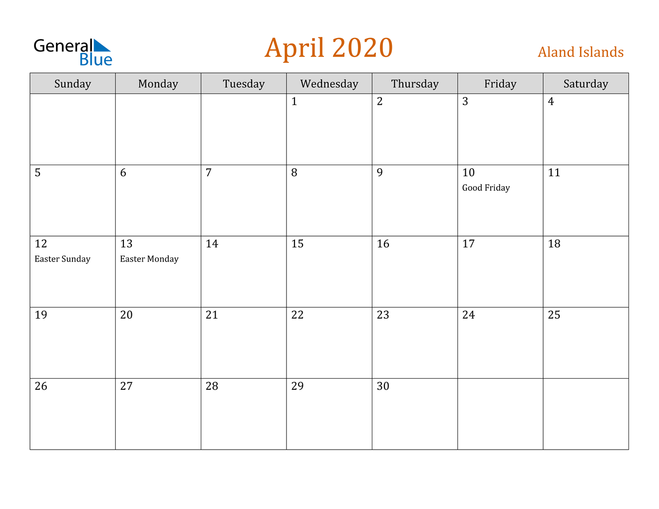 Image of April 2020 Contemporary Orange PDF, Word and Excel Calendar Calendar