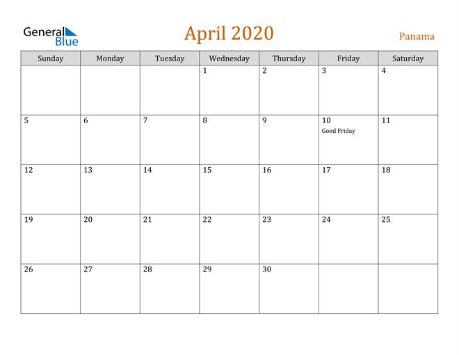 Image of April 2020 Contemporary Orange PDF, Word and Excel Calendar Calendar