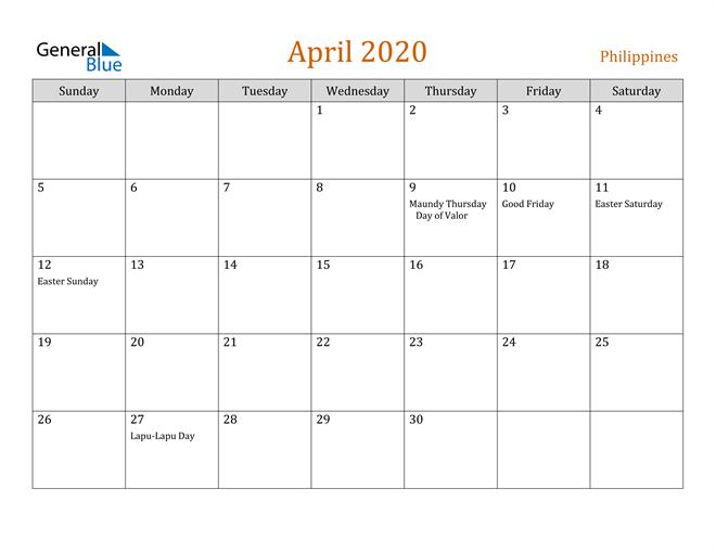 April 2020 Holiday Calendar