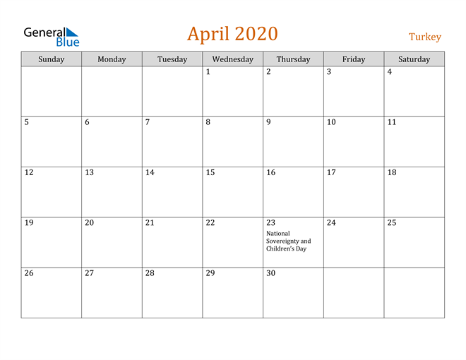 April 2020 Contemporary Orange PDF, Word and Excel Calendar Calendar